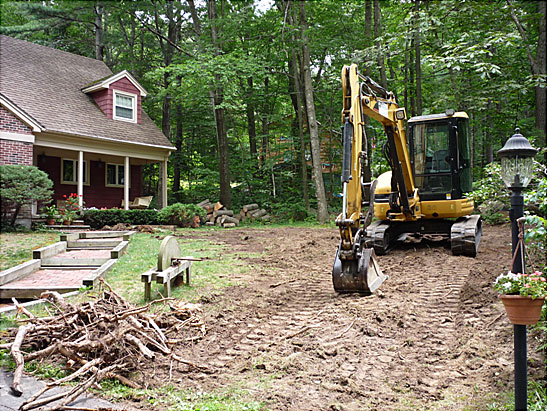 View Excavate and Grub a front yard in Atkinson, NH.  Remove all roots and grade yard files