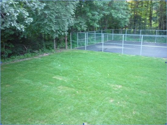 View Excavate and remove an old tennis court in Newton, NH.  Prepare and pave a half court, basketball court and loam files